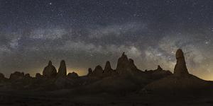 USA, California, Mojave Desert. Milky Way and tufa towers of Trona Pinnacles at night. by Jaynes Gallery