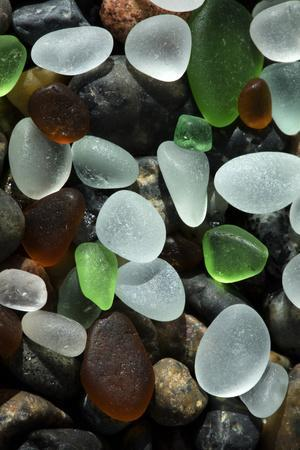 USA, California. Natural sea glass on beach.