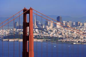 USA, California, San Francisco. Golden Gate Bridge and city. by Jaynes Gallery