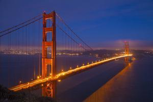 USA, California, San Francisco. Golden Gate Bridge Lit at Night by Jaynes Gallery