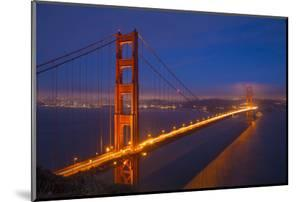 USA, California, San Francisco. Golden Gate Bridge Lit at Night by Jaynes Gallery