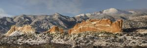 USA, Colorado, Garden of the Gods. Panoramic of fresh snow on Pikes Peak and sandstone formation. by Jaynes Gallery