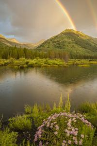 USA, Colorado, Gunnison National Forest. Rainbows over Slate River Valley by Jaynes Gallery