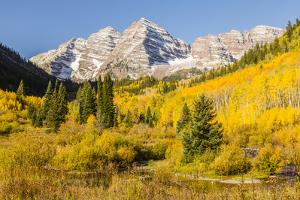 USA, Colorado, Maroon Bells. Mountain and forest autumn landscape. by Jaynes Gallery