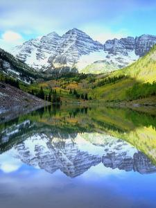 USA, Colorado. Rocky Mountains, Maroon Bells Reflect into Maroon Lake by Jaynes Gallery