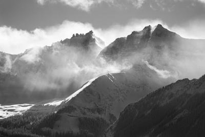 USA, Colorado, San Juan Mountains. Black and white of winter mountain landscape.