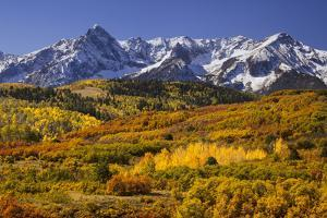 USA, Colorado, San Juan Mountains. Mountain and valley landscape in autumn. by Jaynes Gallery