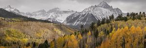 USA, Colorado, San Juan Mountains. Panoramic of storm over mountain and forest. by Jaynes Gallery