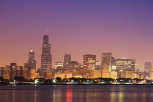 USA, Illinois, Chicago. Sunrise skyline and Lake Michigan. by Jaynes Gallery