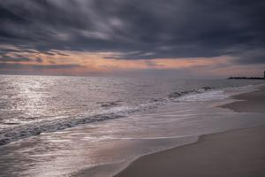 USA, New Jersey, Cape May National Seashore. Overcast sunset on shore. by Jaynes Gallery