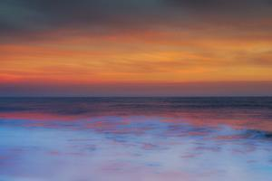 USA, New Jersey, Cape May National Seashore. Sunset on ocean shore. by Jaynes Gallery
