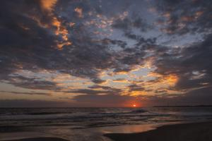 USA, New Jersey, Cape May National Seashore. Sunset on seashore. by Jaynes Gallery