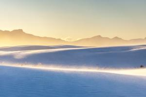 USA, New Mexico, White Sands National Monument. San Andres Mountains and wind-blown dunes. by Jaynes Gallery