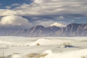 USA, New Mexico, White Sands National Monument. Sand dune landscape with mountains. by Jaynes Gallery