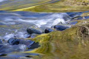 USA, Oregon. Abstract of autumn colors reflected in Wilson River rapids. by Jaynes Gallery