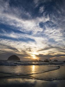 USA, Oregon, Bandon Beach. Face Rock and Sea Stacks at Twilight by Jaynes Gallery
