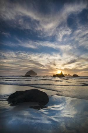 USA, Oregon, Bandon Beach. Face Rock and Sea Stacks at Twilight