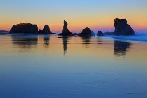 USA, Oregon, Bandon. Sunset on beach sea stacks. by Jaynes Gallery