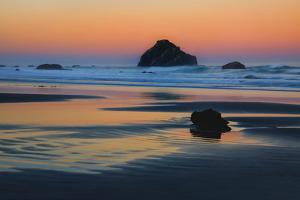 USA, Oregon, Bandon. Sunset on Face Rock sea stack. by Jaynes Gallery