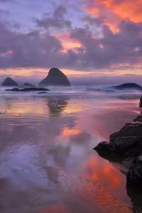 USA, Oregon, Oceanside. Sunset on Beach and Sea Stacks by Jaynes Gallery