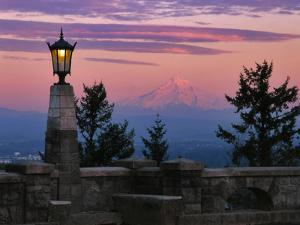 USA, Oregon, Portland. Mt. Hood with moonrise at sunset. by Jaynes Gallery