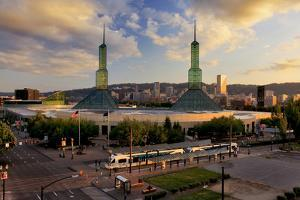 USA, Oregon, Portland. Oregon Convention Center and downtown at sunset. by Jaynes Gallery