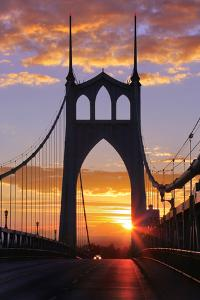 USA, Oregon, Portland. St. Johns Bridge at sunrise. by Jaynes Gallery