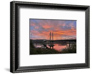 USA, Oregon, Portland. Tilikum Bridge Crossing and Willamette River at sunset. by Jaynes Gallery