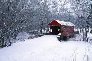 USA, Pennsylvania, Mariana County. Hughes Covered Bridge in Winter by Jaynes Gallery