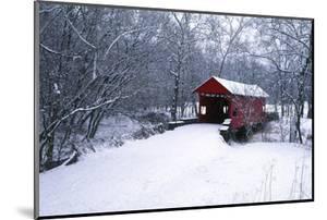 USA, Pennsylvania, Mariana County. Hughes Covered Bridge in Winter by Jaynes Gallery