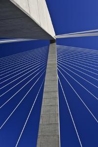 USA, South Carolina, Charleston. Looking up at Arthur Ravenel Jr. Bridge structure. by Jaynes Gallery