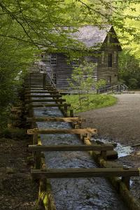 USA, Tennessee, Great Smoky Mountains National Park. Wooden Flume Directs Water Towards Mingus Mil by Jaynes Gallery