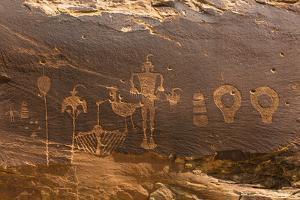 USA, Utah, Bears Ears National Monument. Wolfman Panel of petroglyphs in Butler Wash. by Jaynes Gallery