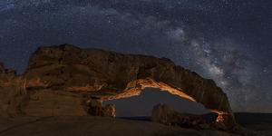 USA, Utah, Grand Staircase-Escalante National Monument. Milky Way and Sunset Arch. by Jaynes Gallery