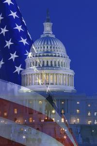 USA, Washington DC. Composite of flag and Capitol Building at night. by Jaynes Gallery