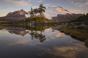 USA, Washington State. Mt Baker reflects in Park Butte Lake. by Jaynes Gallery