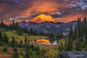 USA, Washington State, Mt. Rainier National Park at sunrise. by Jaynes Gallery