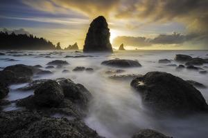 USA, Washington State, Olympic NP. Sunrise on coast beach and rocks. by Jaynes Gallery
