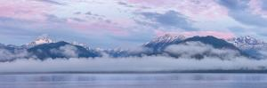 USA, Washington State, Seabeck. Composite of Hood Canal and Olympic Mountains at sunrise. by Jaynes Gallery