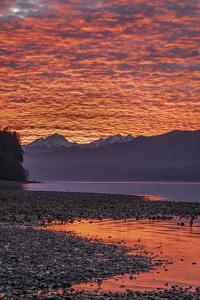 USA, Washington State, Seabeck. Sunset on Hood Canal and Olympic Mountains. by Jaynes Gallery