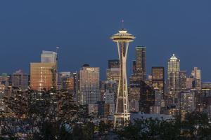USA, Washington State. Seattle skyline at dusk. by Jaynes Gallery