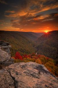 USA, West Virginia, Blackwater Falls State Park. Sunset on mountain landscape. by Jaynes Gallery