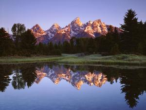 USA, Wyoming, Grand Teton Grand Tetons Reflect in Snake River by Jaynes Gallery