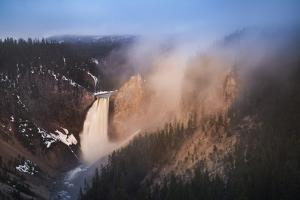 USA, Wyoming, Yellowstone National Park. Lower Yellowstone Falls and Yellowstone River. by Jaynes Gallery