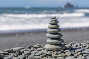 Washington State, Olympic National Park. Stacked Beach Rocks by Jaynes Gallery