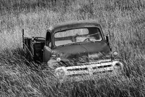Washington State, Palouse. B&W of Vintage Studebaker Pickup Truck in Field by Jaynes Gallery