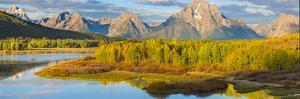 Wyoming, Grand Teton National Park. Panorama of Sunrise on Snake River by Jaynes Gallery