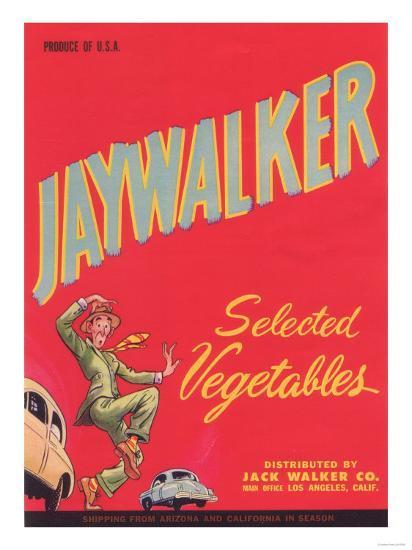 Jaywalker Vegetable Label - Los Angeles, CA-Lantern Press-Art Print