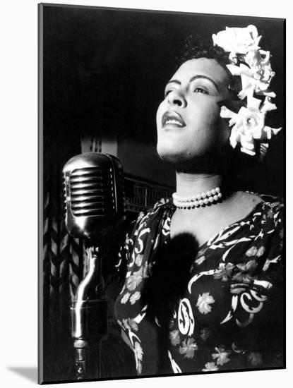 Jazz and Blues Singer Billie Holiday (1915-1959) in the 40's--Mounted Photo