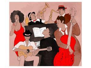 Jazz Band Jamming Around Piano